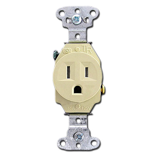 Tamper Resistant Ivory Round 15A Power Single Receptacles