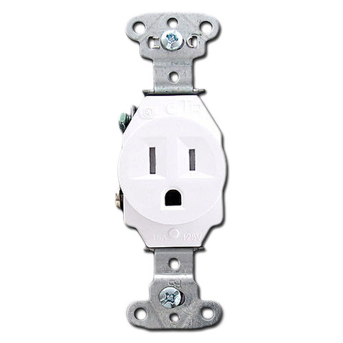 Tamper Proof White Round 15 Amp Single Power Outlets
