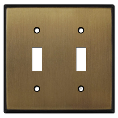 2 Toggle Switch Plate - Antique Brass