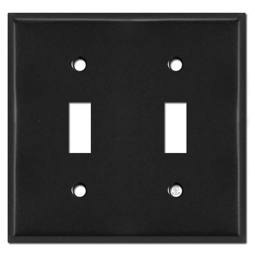 2 Toggle Switch Plate - Black
