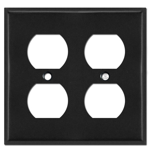Black 2 Duplex Outlet Switch Plate