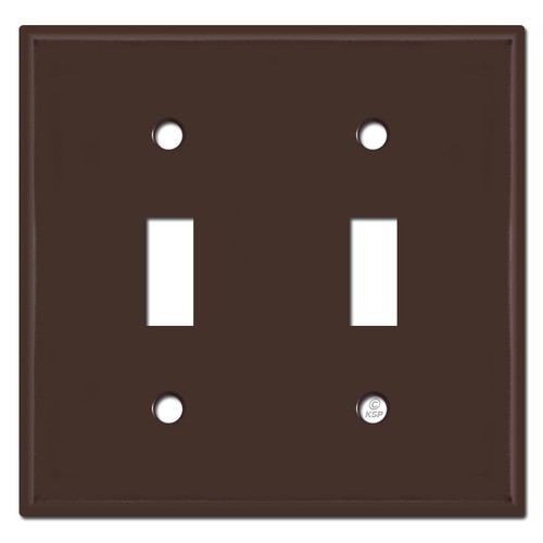 2 Toggle Switch Plate - Brown