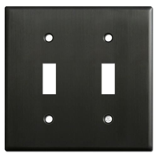 2 Toggle Light Switch Plates - Dark Oiled Bronze