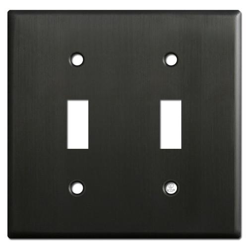 2 Toggle Light Switch Plates - Dark Oiled Bronze