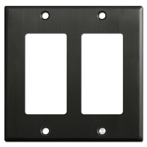 2 Rocker Switch Plate Covers - Dark Oiled Bronze