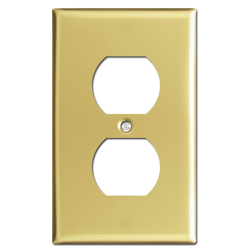 1 Outlet Cover Plate - Polished Brass