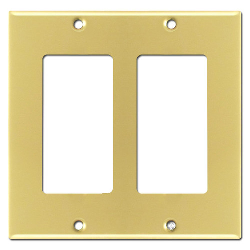 Two Rocker Wall Switch Plate - Polished Brass
