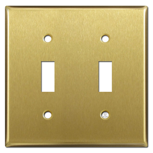 Double Toggle Switch Plate - Satin Brass
