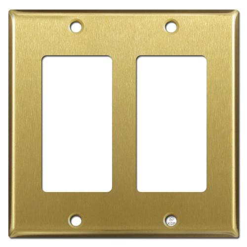 2 Decora Rocker Wall Plates - Satin Brass