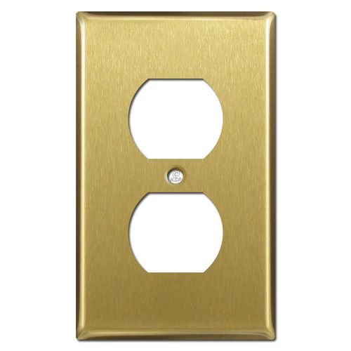 1 Duplex Outlet Cover Switch Plate - Satin Brass