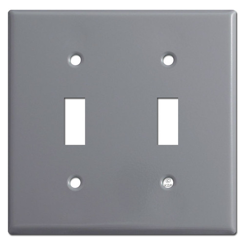2 Toggle Light Switch Plate Cover - Gray