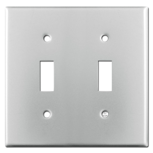 2 Toggle Switch Plate - Brushed Aluminum