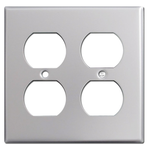 2 Duplex Outlet Switch Plate - Brushed Aluminum