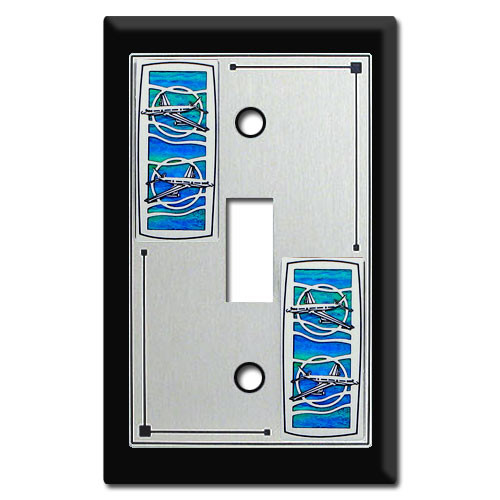 Pilot Themed Switch Plate with Commercial Airplane