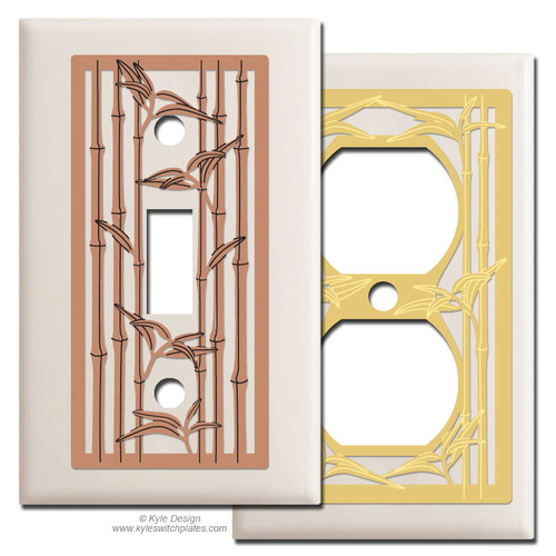 Almond Switch Plates with Bamboo Design