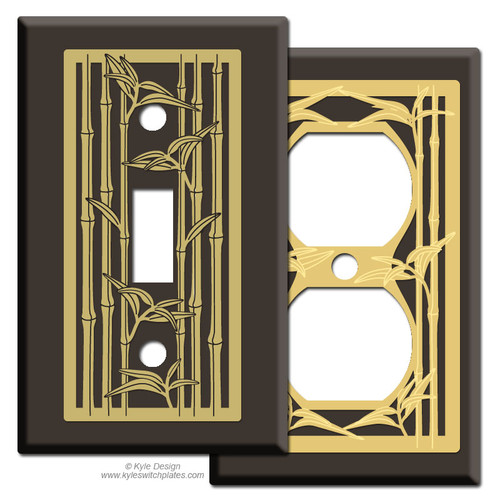 Brown Switch Plates with Bamboo Design