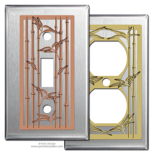 Stainless Steel Switch Plates with Bamboo Design