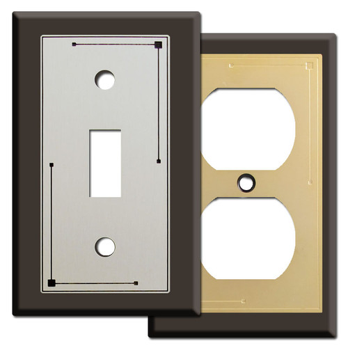 Classic Lines Decorated Brown Switch Plates