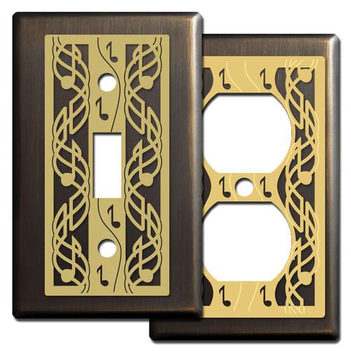 Decorative Bronze Switch Plates - Music Theme