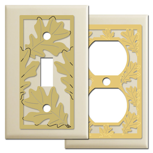Decorative Oak Leaf Switch Plates - Ivory