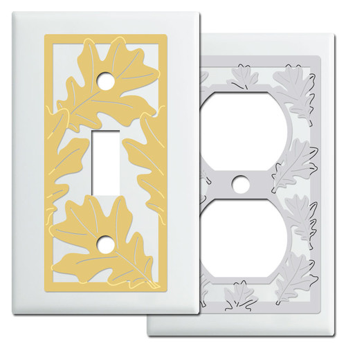 White Fall Themed Switch Plates