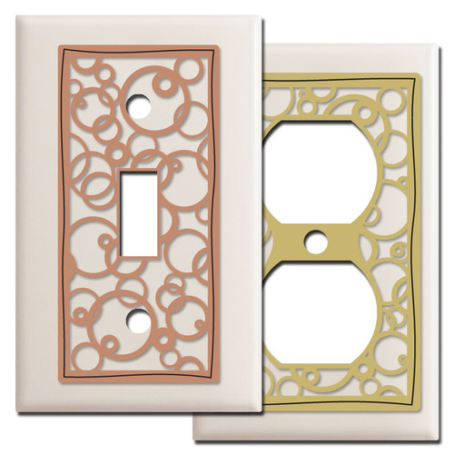 Almond Circles Switch Plate Covers