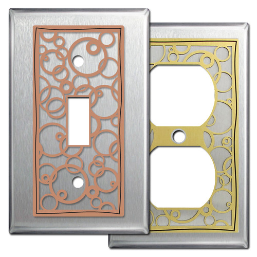 Modern Decorative Wall Plates in Satin Stainless Steel