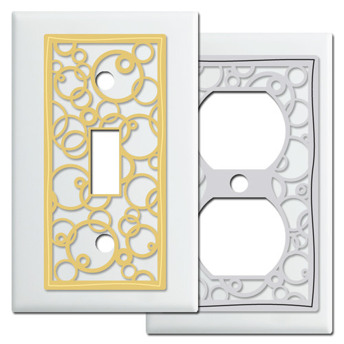 White Switch Plates - Decorative Circles