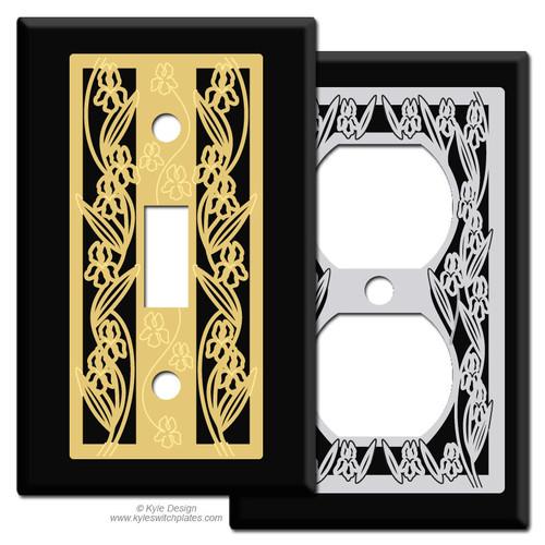 Iris Design Switch Plates - Black