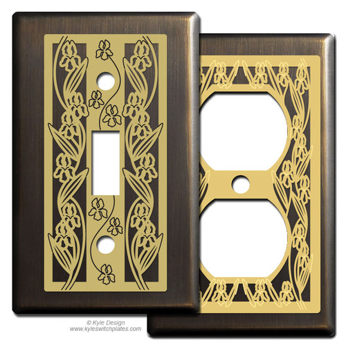 Upscale Bronze Switch Plates with Iris Flowers