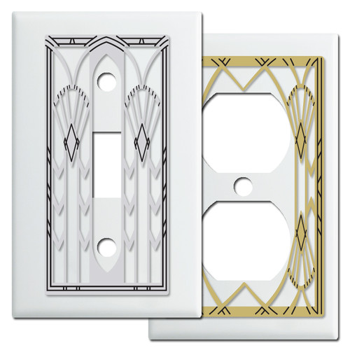 White Art Deco Style Switch Plates & Outlet Covers