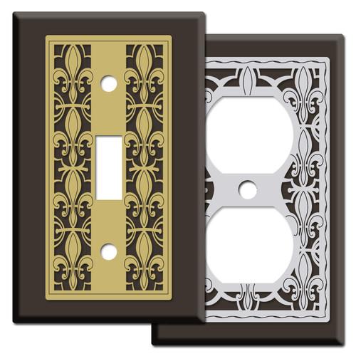 Brown Fleur de Lis Switch Plates & Outlet Covers