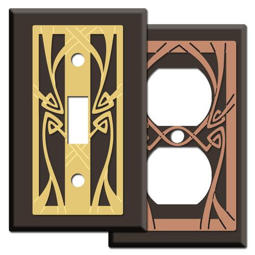 Decorative Brown Art Nouveau Switch Plate Covers
