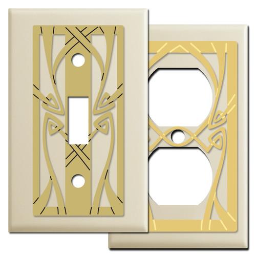 Art Nouveau Decorative Switch Plates in Ivory