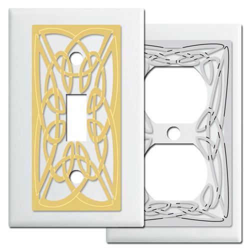 Decorative White Switch Plates with Irish Celtic Knots