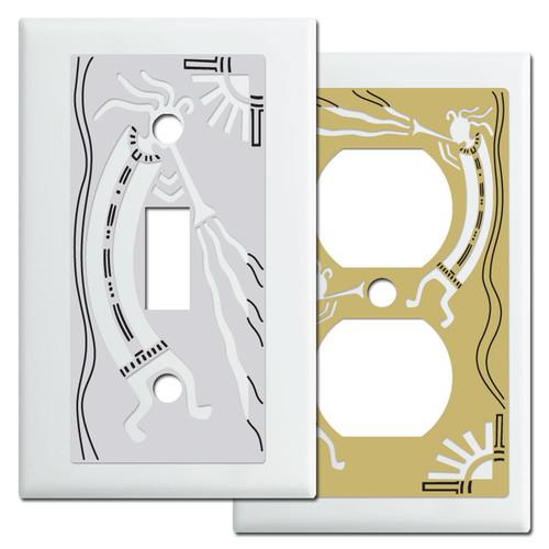 White Kokopelli Southwest Switch Plates