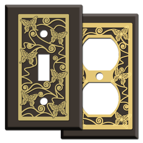 Brown Switch Plates & Outlet Covers with Butterflies