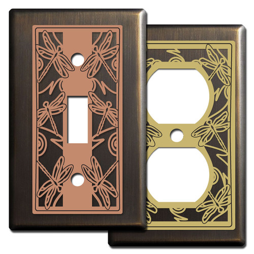 Bronze Switch Plates with Dragonflies