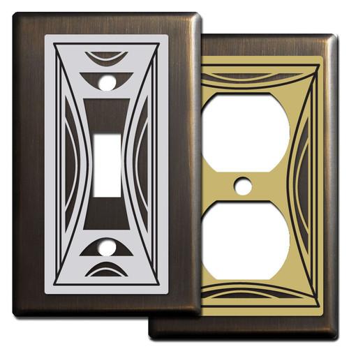 Modern Milano Switch Plates - Bronze