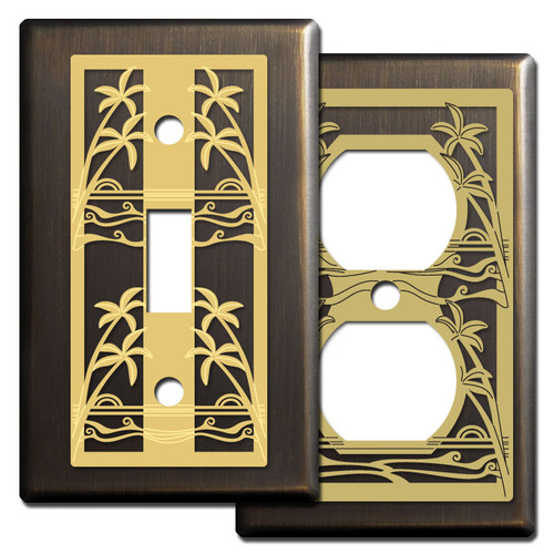 Decorative Palm Tree Switch Plates in Bronze