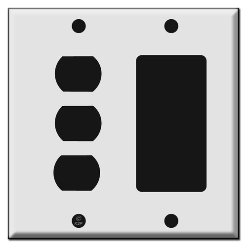 3 Stacked Switches + 1 Decora Outlet or GFCI Receptacle Wall Switchplate