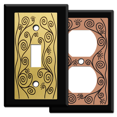 Black Swirly Vine Switch Plate Covers