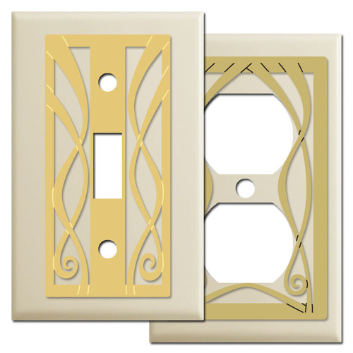 Ribbon Swirl Light Switch Plates - Ivory