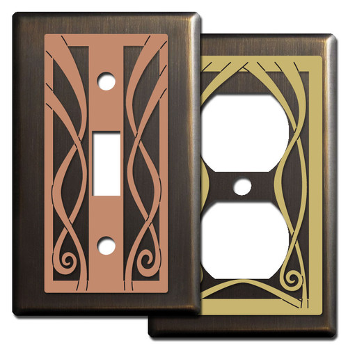 Decorative Bronze Switch Plates with Ribbon Swirls