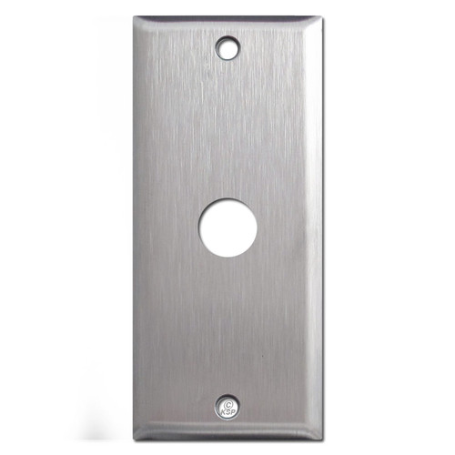 Narrow stainless steel phone / cable cover plate.