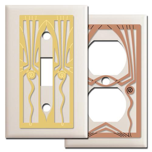 Retro Art Deco Switch Plates - Light Almond