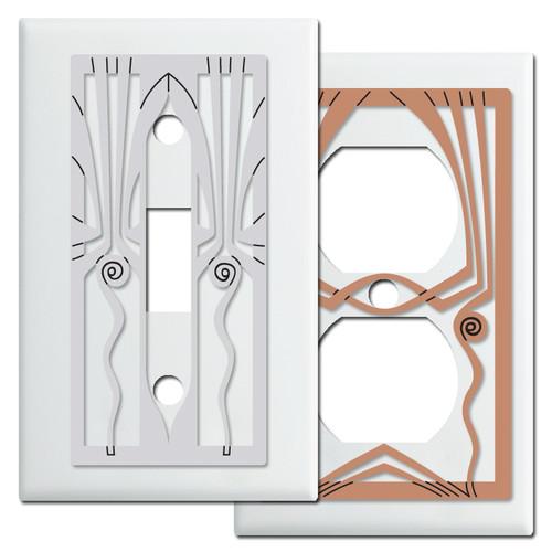 White Retro Art Deco Decorative Switch Plates