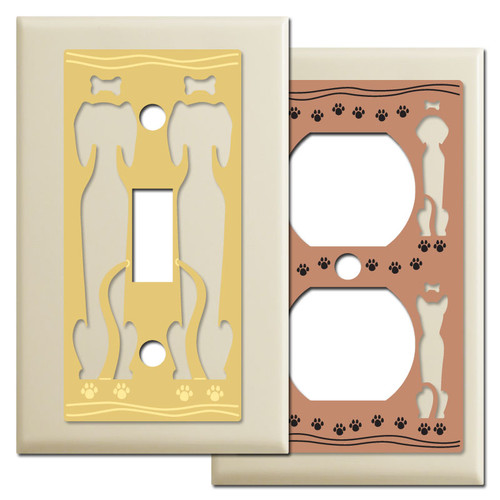Ivory Dog Themed Switch Plates