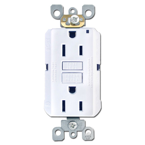 White 15A GFCI Decora Receptacle Outlets