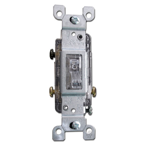 15 Amp Leviton Clear Lighted 3-Way Toggle Light Switch